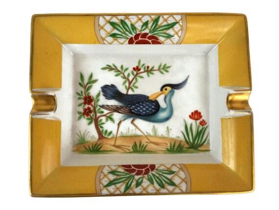 Hermes Porcelain Exotic Bird Ashtray, Vintage French Change Dish, Luxury Gift