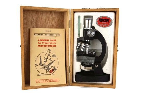 Vintage School Microscope with Lamp and Glass Slides, Educational Toy