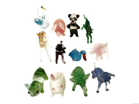 Vintage Miniature Blown Glass Animal, Set of 12 Collectible Murano Figurines, Readymade Collection