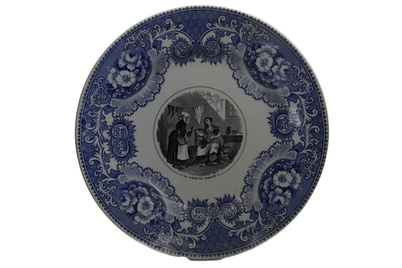 Antique French Porcelain Plate by Vieillard Bordeaux, Blue White China Transferware, Wall Decor