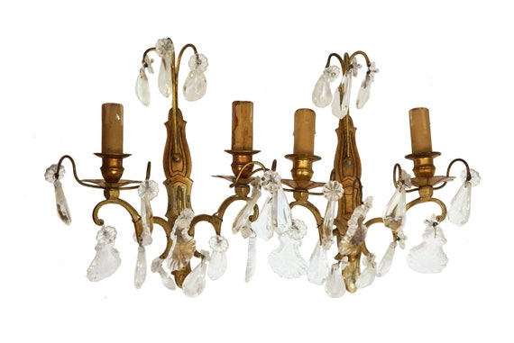 Antique French Chandelier Wall Sconces, Pair of Crystal Candelabra Lights