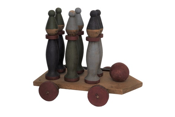 Wooden Clown Figurine Bowling Pins in Cart, Hand Painted French Skittle Toy