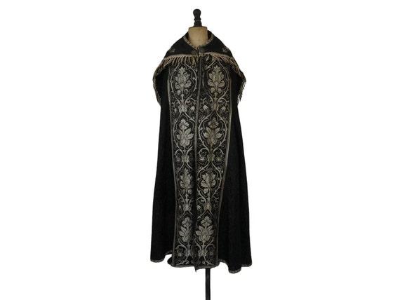 Antique French Priest Cope Cloak, Black Catholic Church Vestment, Liturgical Cape