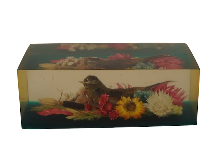 Resin Inclusion Paperweight with Feather Bird Figurine and Dried Wild Flowers, Vintage Lucite Office and Desk Decor
