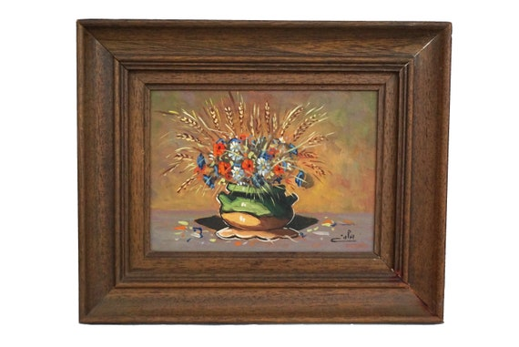 Still Life Painting of Wild Field Flowers in French Pottery Vase, Provence Art by Francis Eula