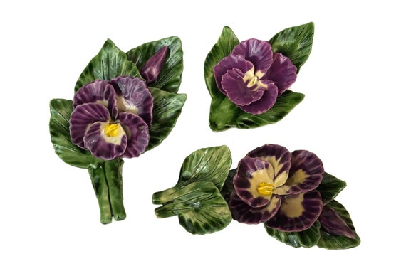 French Majolica Pansy Flower Ornaments, Vintage Spring Blossom Table Decor
