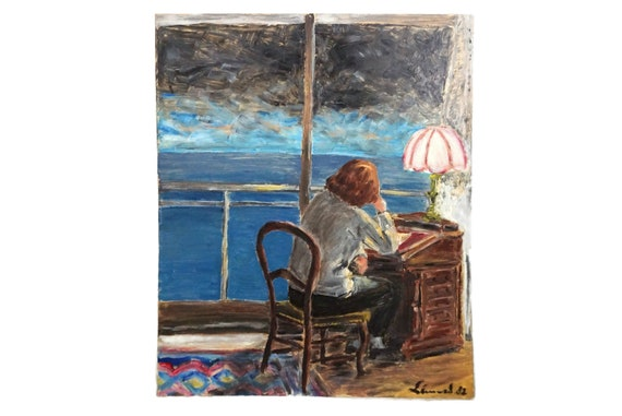 Seascape Storm Painting with Woman Reading At Desk, Vintage French Sea and Nautical Art