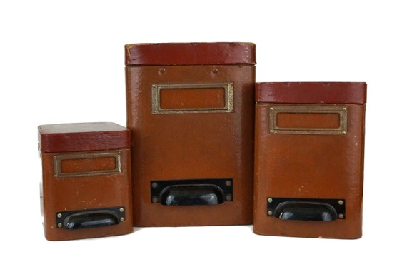 Antique French Storage Box Set, 3 Pharmacy Canisters, Office and Craft Room Organizers and Decor