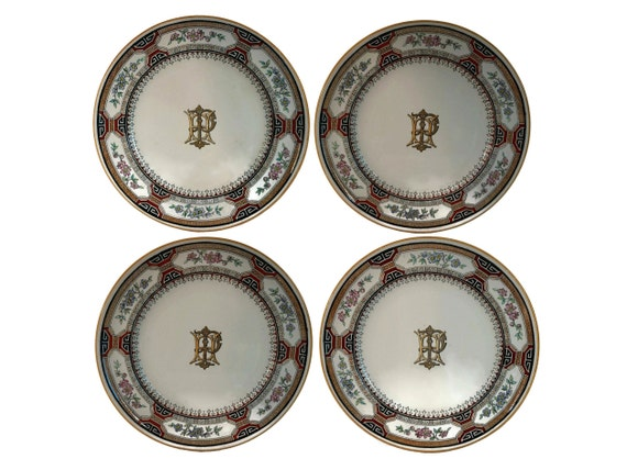 Antique Minton China Plates with Monogram Initials H P in Chinese Key Transferware Pattern, Set of 4