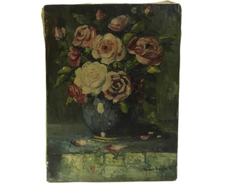 French Rose Flower Painting. Original Floral Art Still Life. Mid Century Oil Painting. Wall Art and Home Decor.