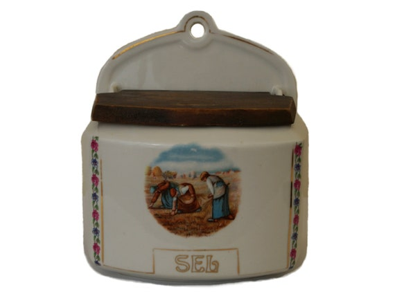 Vintage French Ceramic Salt Box, The Gleaners by Jean Francois Millet, Rustic Kitchen Decor