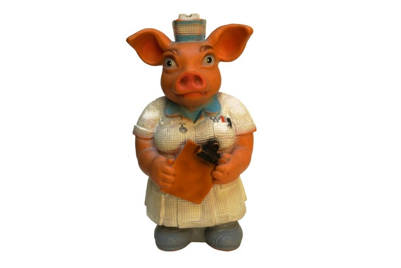Pig Nurse Piggy Bank, Vintage Rubber Money Box