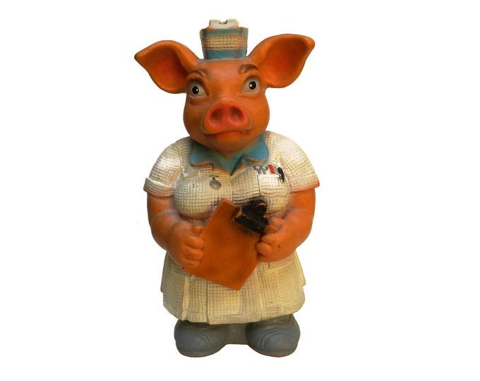 Pig Nurse Piggy Bank, Vintage Rubber Money Box