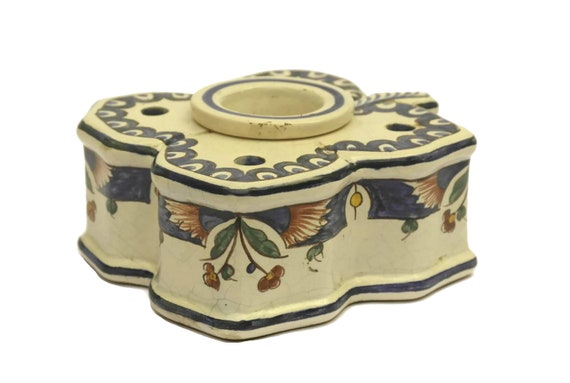 Antique French Faience Inkwell and Pen Stand, Four-Leaf Clover Hand Painted Pottery Ink Pot