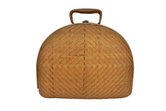 Mid Century Bamboo Purse, Hand Woven Basket Bag