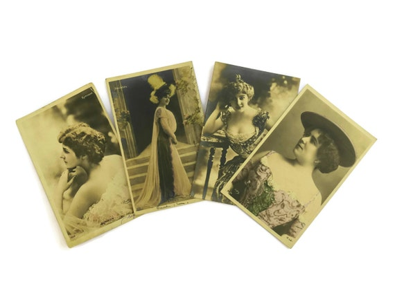 Antique French Actress Postcards. Reutlinger Postcard Set. Romantic French Vintage Woman Portrait Postcards.