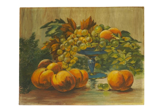 Fruit Still Life Painting with Grapes and Peaches, Original French Art and Wall Decor