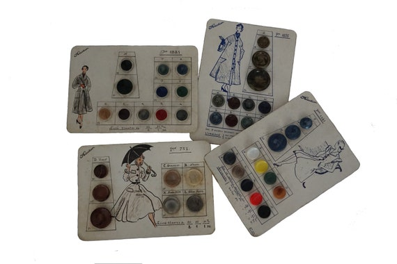 1950s Fashion Buttons Sample Card Set, French Salesman Samples