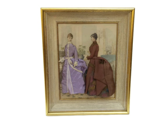 Antique  French Fashion Diorama, Victorian Fashion Illustration Shadow Box