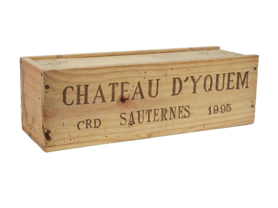 Vintage French Wine Bottle Box, Chateau d'Yquem Wooden Crate