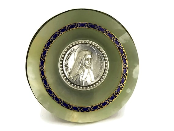 Saint Bernadette Silver Medal. Antique French Religious Plaque with Brass. Blue Enamel And Alabaster. Lourdes Souvenir.