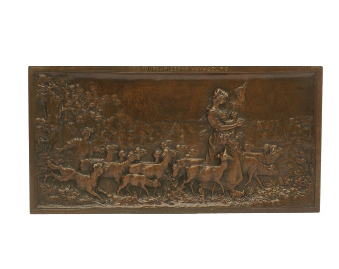 Antique French Bronze Medal with Shepherdess and Sheep, Military Carrier Pigeon Award Plaque