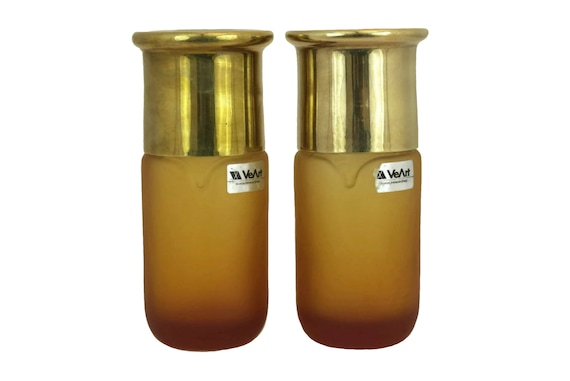 Vintage Murano Art Glass Bottles, Amber Flasks with Brass Lids by VeArt Scorze, 1970s Italian Design