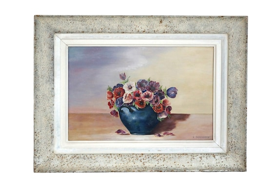 Poppy Flower Still Life Painting, French Country Floral Bouquet Art