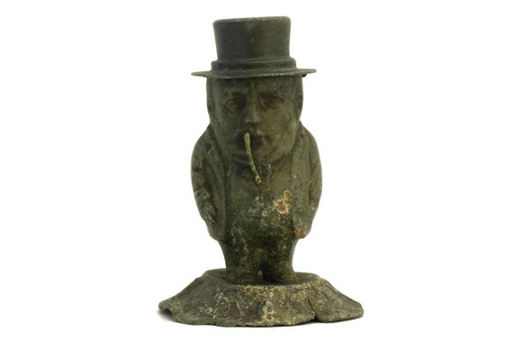 RESERVED for Alan. French Antique Bar Counter Top Petrol Lighter. Cigarette and Cigare Caricature Lighter. Grotesque Man in Top Hat Figure.