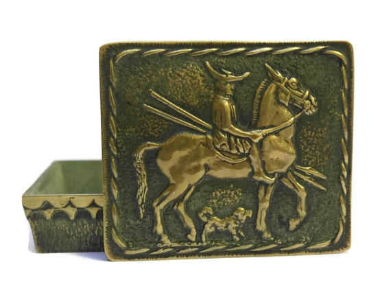 Max Le Verrier Bronze Box With Horse Rider. Cavalier Macédonien. French Vintage Equestrian Art Box.