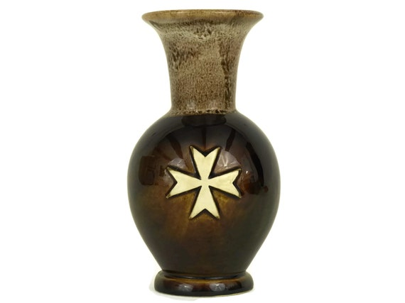 Small Brown Pottery Vase with Maltese Cross by Peter The Potter