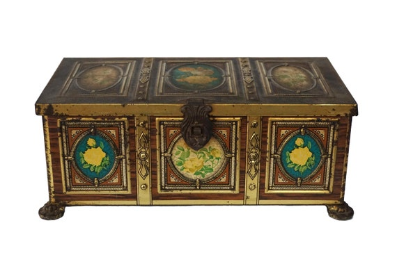 French Tin Treasure Chest Candy Box with Lithograph Roses