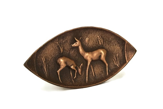 Bronze Art Deco Deer Figure Coin Dish