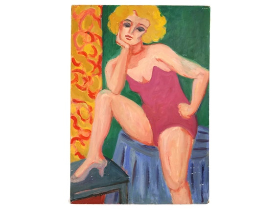 1960's Pinup Woman Portrait Oil Painting