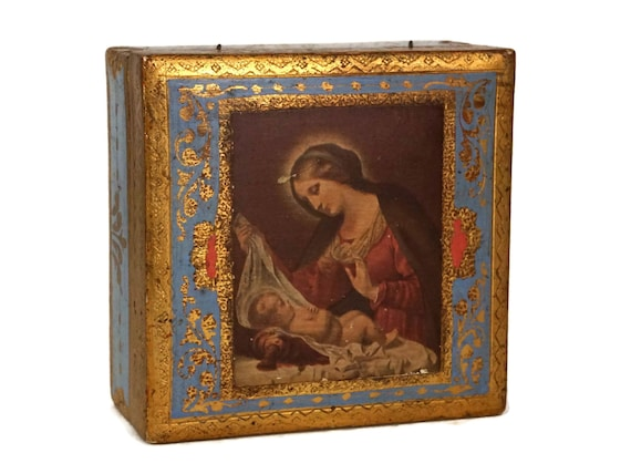 Vintage Florentine Wooden Jewelry Box with Virgin Mary and Baby Jesus Print, Madonna of the Veil by Carlo Dolci, Christian Gift