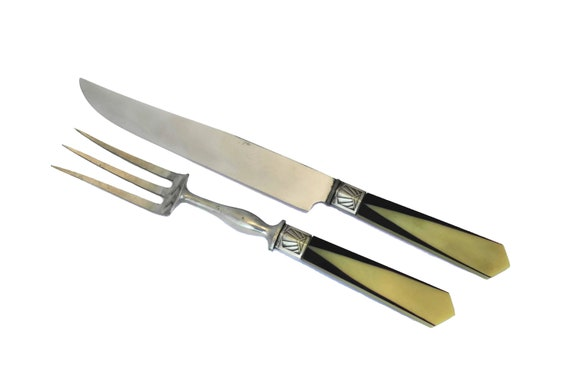 Art Deco Carving Knife and Fork Set with Bakelite Handles