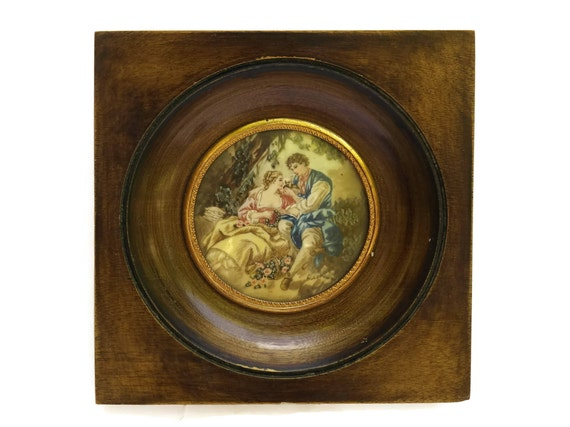 Antique French Miniature Painting after Francois Boucher.