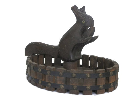 Wooden Squirrel Nutcracker and Nut Bowl