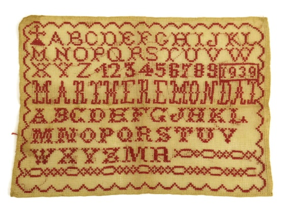 French Redwork Sampler. Antique Cross Stitch Alphabet and Number Embroidery. Nursery Decor & Wall Art.