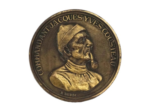 Captain Jacques Cousteau Portrait Bronze Medal, Collectible Nautical Gifts and Decor