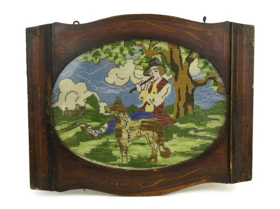 French Tapestry of Sheepdog and Shepherd, Framed Art Deco Wool Needlepoint Wall Hanging