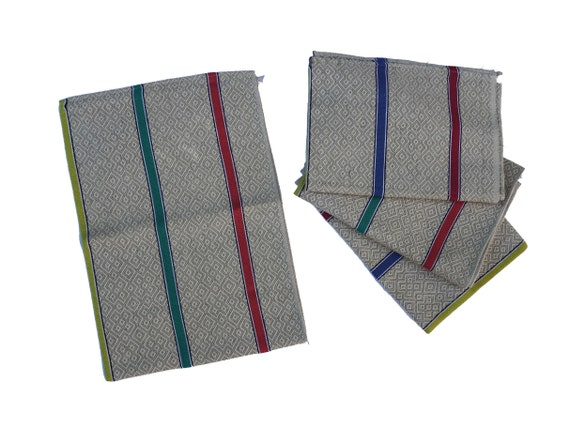 French Linen Tea Towel with Rainbow Stripe, Set of 4, Vintage Kitchen Dish Cloth