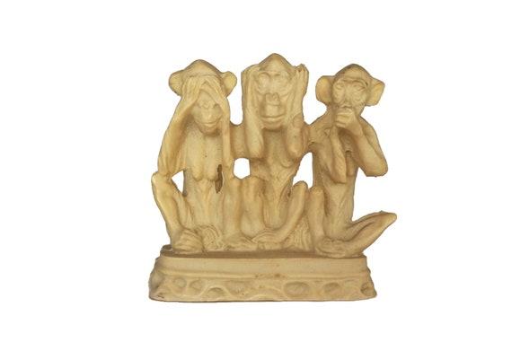3 Wise Monkeys Statue, Vintage See No Evil Hear No Evil Say No Evil Animal Figurine