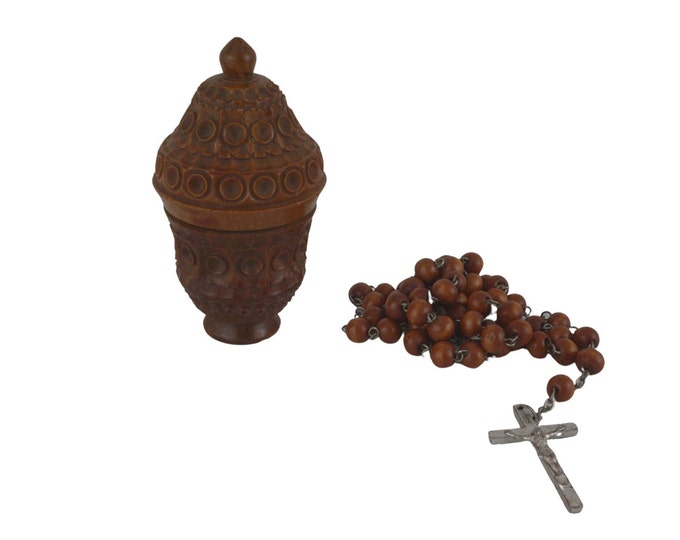 Antique Corozo Box with Rosary Beads, French Hand Carved Nut Etui Case, Catholic Gift