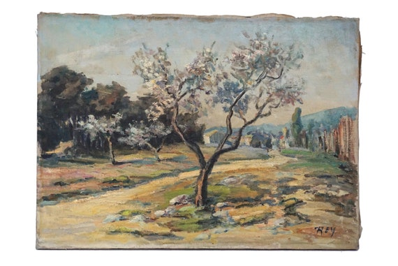 Tree in Country Landscape Painting, Vintage French Provence Wall Art