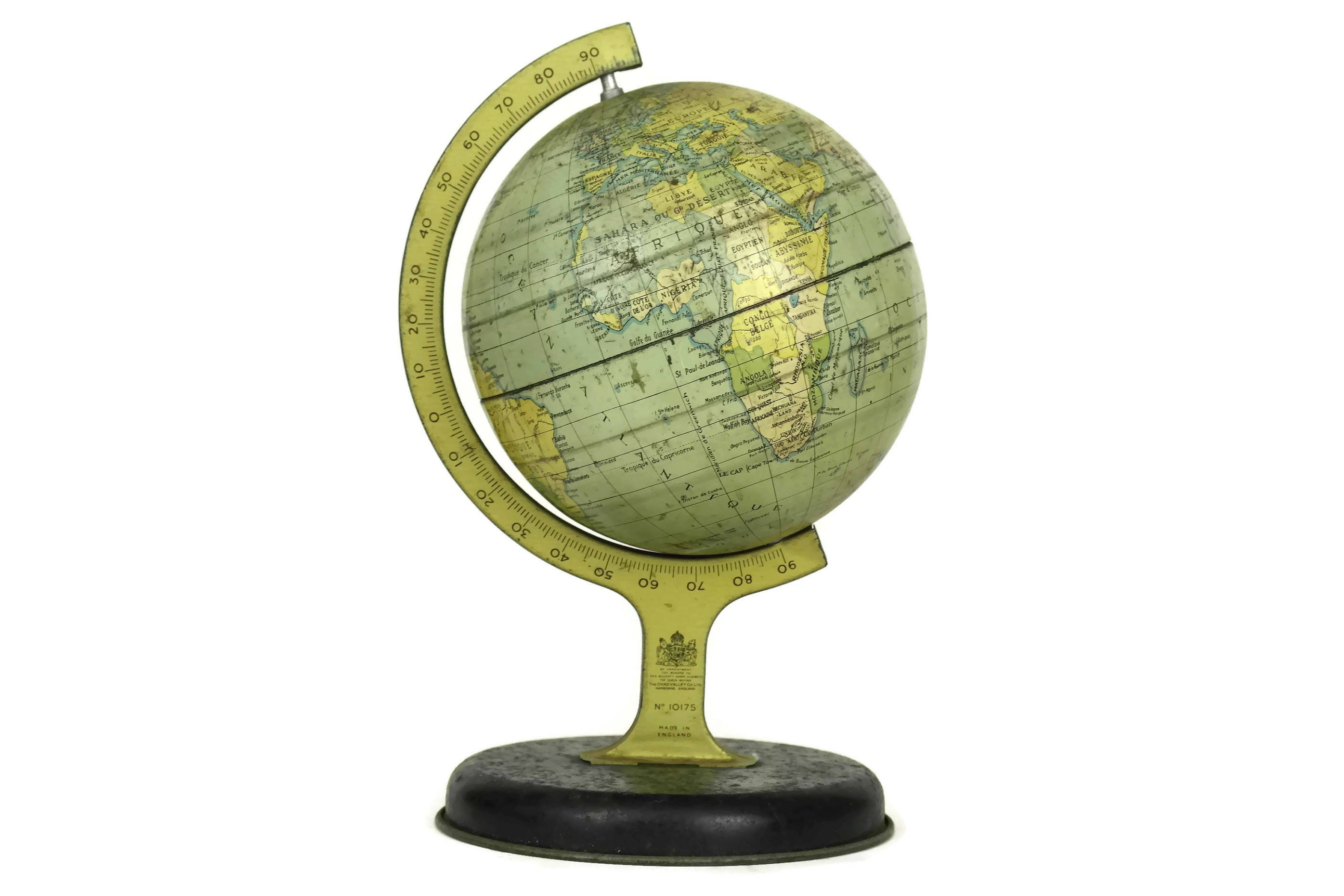 Vintage World Map Globe No. 10175 By Chad Valley, 1950u0027s Lithograph Tin  Earth Model, Office Desk Decor
