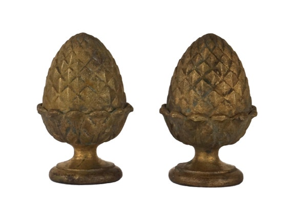 Antique French Brass Pinecone Finials, Furniture Ornaments, Architecture Salvage