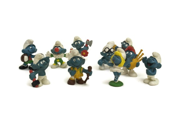 Vintage Smurf figurines. 80s Collectible Plastic Action Figures. Peyo Comic. Set of 10. Children Room Decor.