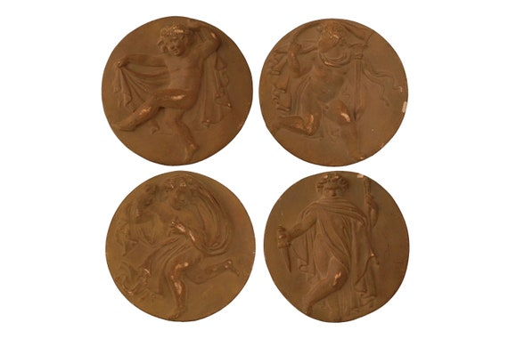 French Putti Terracotta Wall Hanging Plaques, Set of 4 Bas Relief Allegorical Medallions