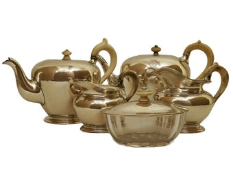 Antique Sterling Silver Tea Service with Monogram and Crown Engraving, Austrian Silverware, Teapot, Sugar Bowl and Creamer Set